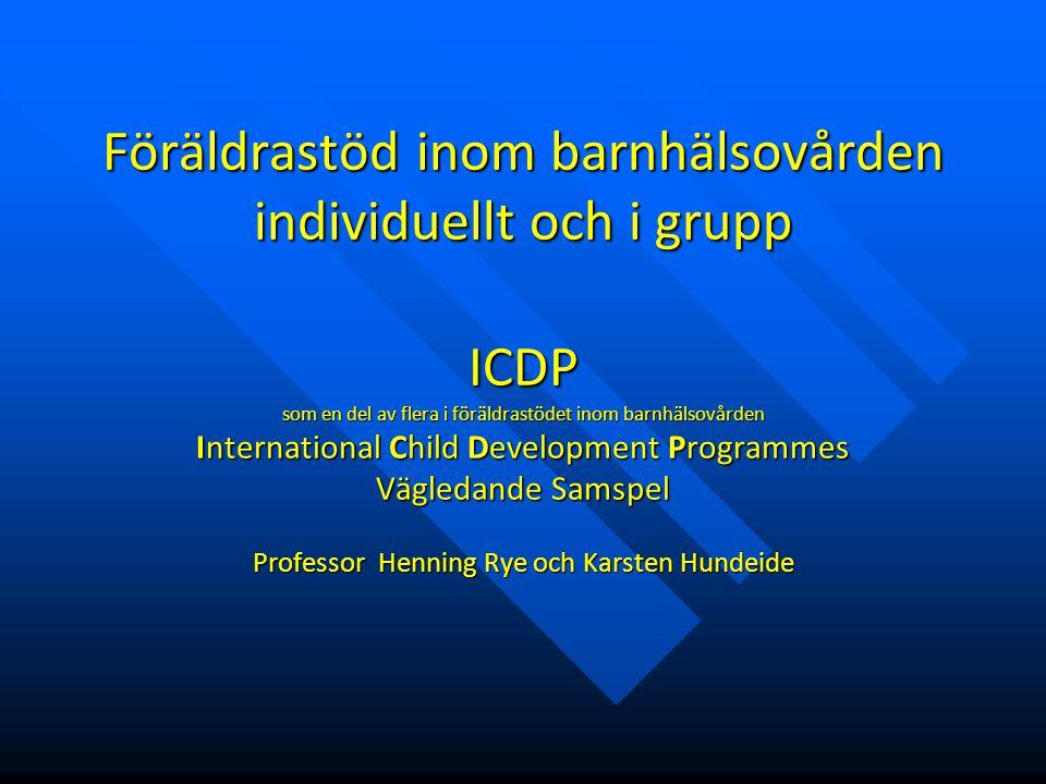 Instruktionsbaserat ICDP-program program Instruktionsbaserat ICDP-program program  Undervisande  Instruerande, rådgivande  Färdiga manualer, nya ideal  Förklaringar, demonstrationer  Lära in  Föräldern blir beroende  Föräldern är novis  Sjuksköterskan är expert  Medvetandeskapande, stärkande  Medvetandegöra befintligt positivt samspel.