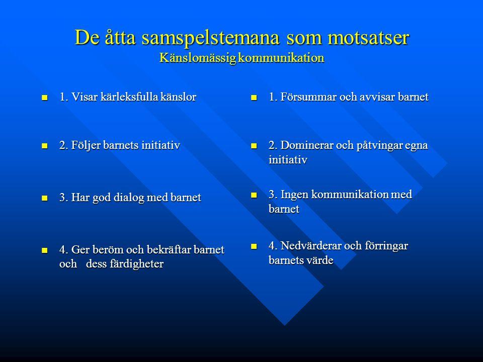 De åtta samspelstemana som motsatser Känslomässig kommunikation  1.