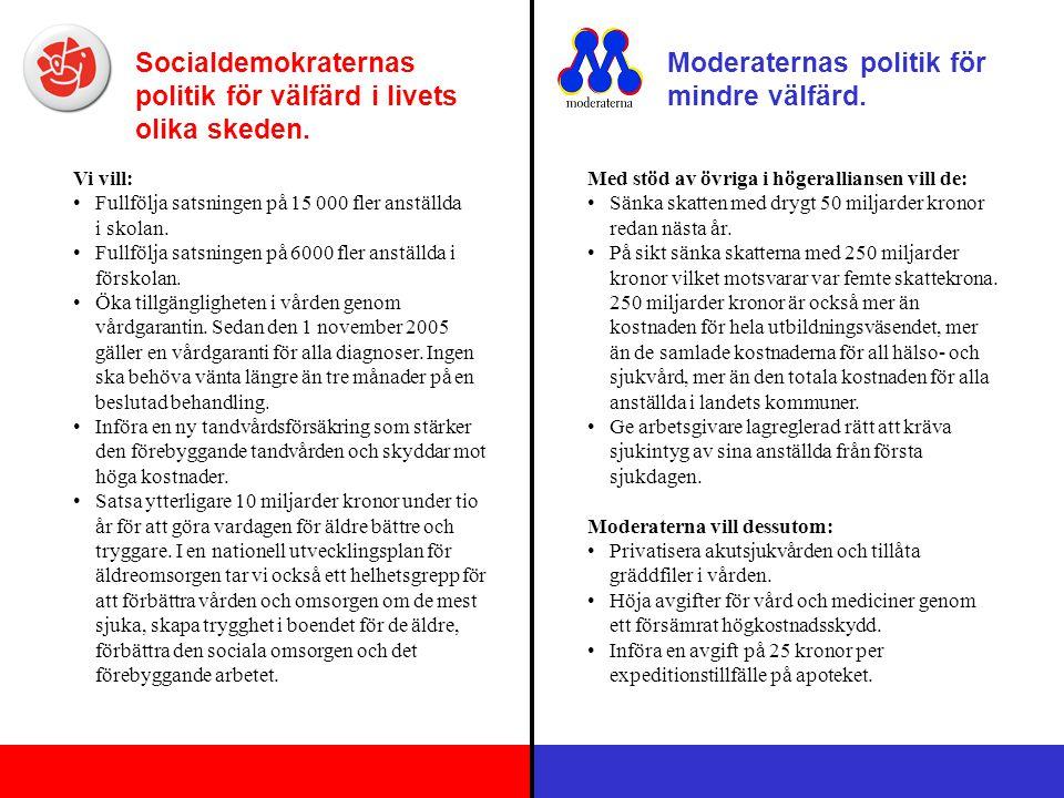 Socialdemokraternas politik för välfärd i livets olika skeden.