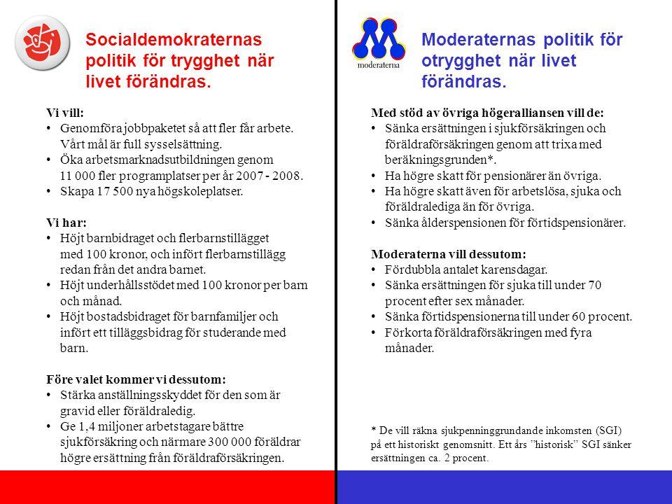Socialdemokraternas politik för minskade orättvisor.