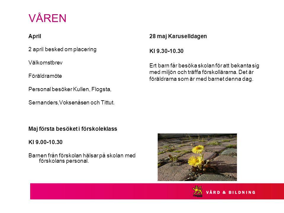 VÅREN April 2 april besked om placering Välkomstbrev Föräldramöte Personal besöker Kullen, Flogsta, Sernanders,Voksenåsen och Tittut. Maj första besök