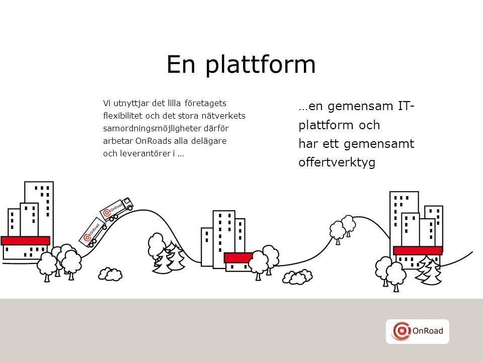 En plattform Vi utnyttjar det lilla företagets flexibilitet och det stora nätverkets samordningsmöjligheter därför arbetar OnRoads alla delägare och l