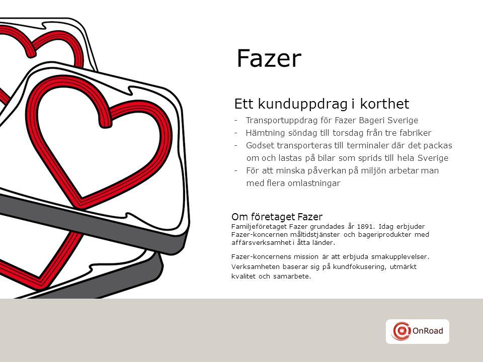 Ett kunduppdrag i korthet - Transportuppdrag för Fazer Bageri Sverige - Hämtning söndag till torsdag från tre fabriker - Godset transporteras till ter