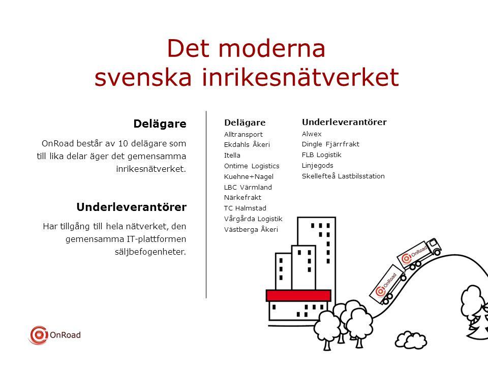 Det moderna svenska inrikesnätverket Delägare OnRoad består av 10 delägare som till lika delar äger det gemensamma inrikesnätverket. Underleverantörer