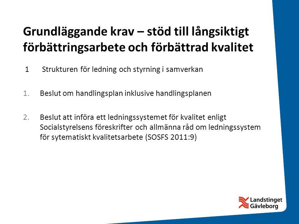Grundläggande krav – stöd till långsiktigt förbättringsarbete och förbättrad kvalitet 1 Strukturen för ledning och styrning i samverkan 1.Beslut om ha
