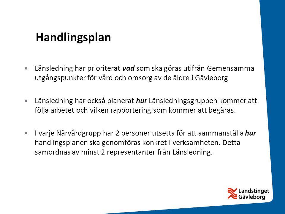 Handlingsplan •Länsledning har prioriterat vad som ska göras utifrån Gemensamma utgångspunkter för vård och omsorg av de äldre i Gävleborg •Länslednin