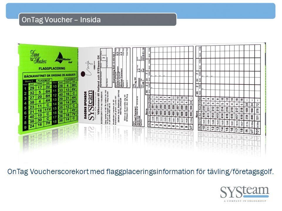 OnTag Voucher – Insida OnTag Voucherscorekort med flaggplaceringsinformation för tävling/företagsgolf.