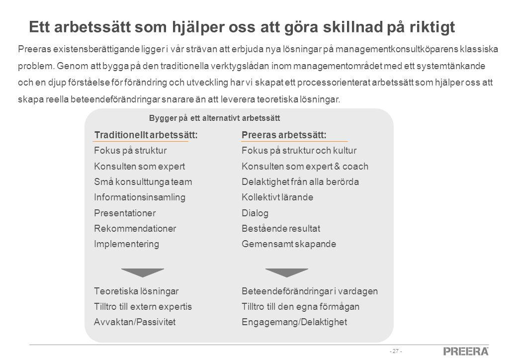 - 27 - Traditionellt arbetssätt: Fokus på struktur Konsulten som expert Små konsulttunga team Informationsinsamling Presentationer Rekommendationer Im