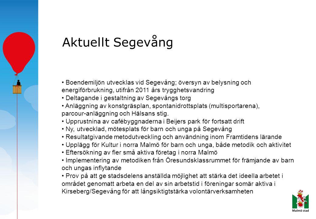 Aktuellt Segevång • Boendemiljön utvecklas vid Segevång; översyn av belysning och energiförbrukning, utifrån 2011 års trygghetsvandring • Deltagande i