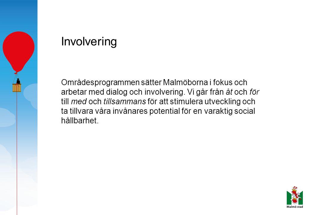 Involvering Områdesprogrammen sätter Malmöborna i fokus och arbetar med dialog och involvering. Vi går från åt och för till med och tillsammans för at