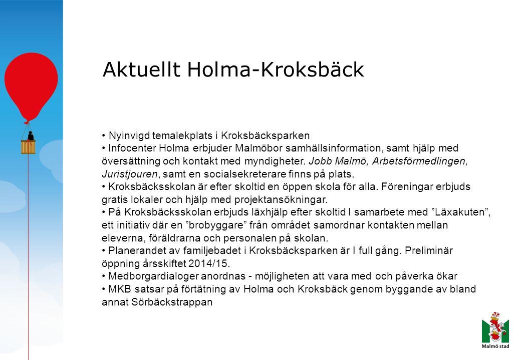 Aktuellt Holma-Kroksbäck • Nyinvigd temalekplats i Kroksbäcksparken • Infocenter Holma erbjuder Malmöbor samhällsinformation, samt hjälp med översättn