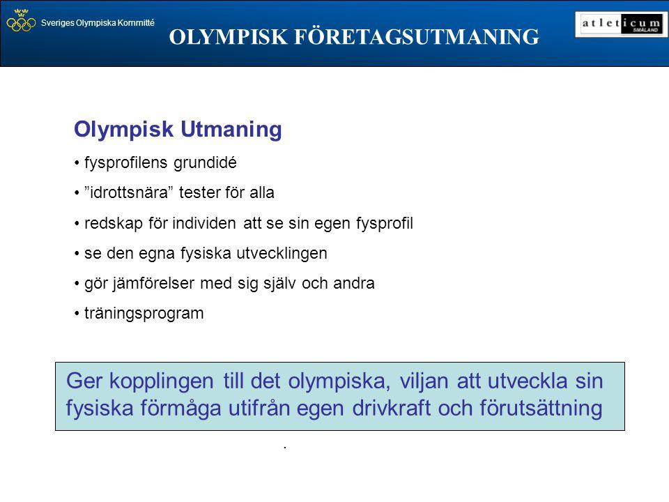 """Sveriges Olympiska Kommitté OLYMPISK FÖRETAGSUTMANING. Olympisk Utmaning • fysprofilens grundidé • """"idrottsnära"""" tester för alla • redskap för individ"""