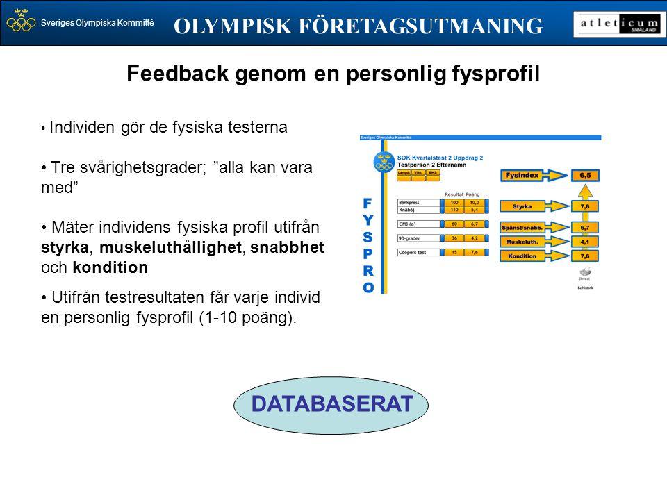 """Sveriges Olympiska Kommitté OLYMPISK FÖRETAGSUTMANING • Individen gör de fysiska testerna • Tre svårighetsgrader; """"alla kan vara med"""" • Mäter individe"""