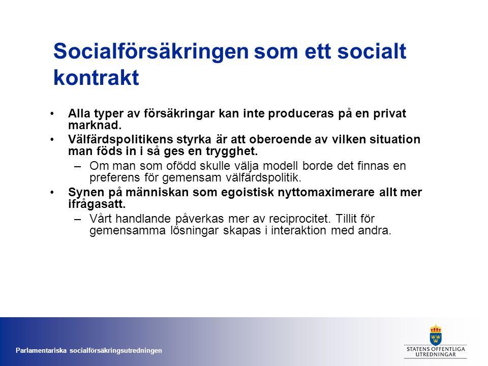 Parlamentariska socialförsäkringsutredningen Socialförsäkringen som ett socialt kontrakt •Alla typer av försäkringar kan inte produceras på en privat
