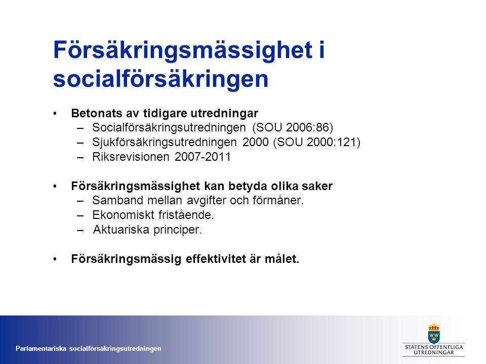 Parlamentariska socialförsäkringsutredningen Försäkringsmässighet i socialförsäkringen •Betonats av tidigare utredningar –Socialförsäkringsutredningen
