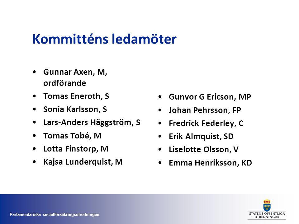 Parlamentariska socialförsäkringsutredningen Kommitténs ledamöter •Gunnar Axen, M, ordförande •Tomas Eneroth, S •Sonia Karlsson, S •Lars-Anders Häggst