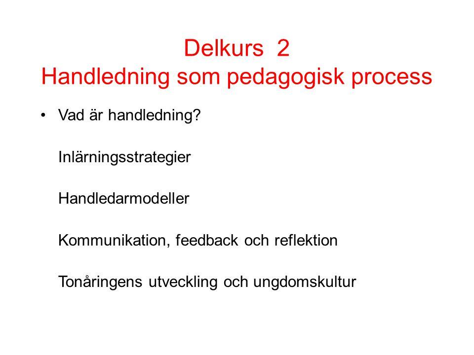 Delkurs 2 Handledning som pedagogisk process •Vad är handledning? Inlärningsstrategier Handledarmodeller Kommunikation, feedback och reflektion Tonåri