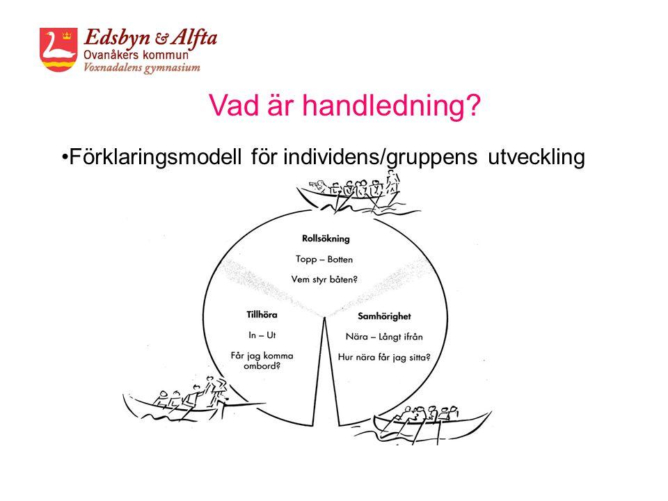 Vad är handledning? •Förklaringsmodell för individens/gruppens utveckling