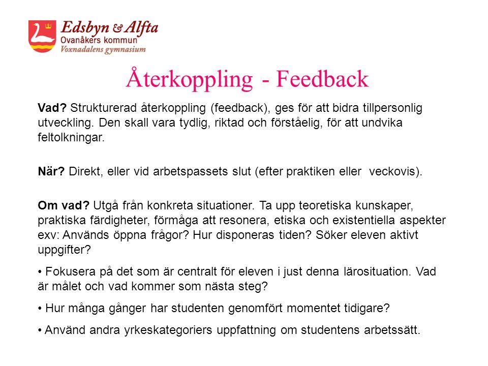 Återkoppling - Feedback Vad? Strukturerad återkoppling (feedback), ges för att bidra tillpersonlig utveckling. Den skall vara tydlig, riktad och först