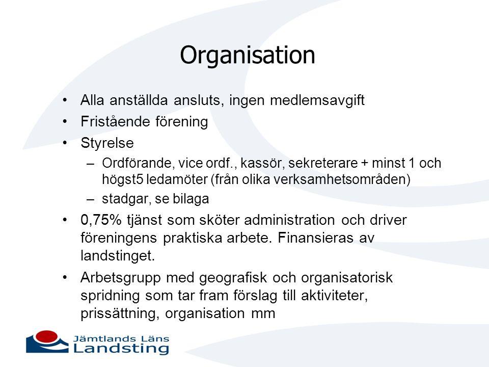 Organisation •Alla anställda ansluts, ingen medlemsavgift •Fristående förening •Styrelse –Ordförande, vice ordf., kassör, sekreterare + minst 1 och hö