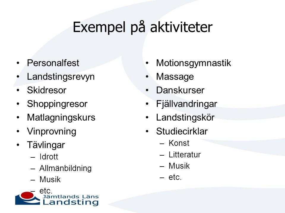 Exempel på aktiviteter • Personalfest • Landstingsrevyn • Skidresor • Shoppingresor • Matlagningskurs • Vinprovning • Tävlingar –Idrott –Allmänbildnin