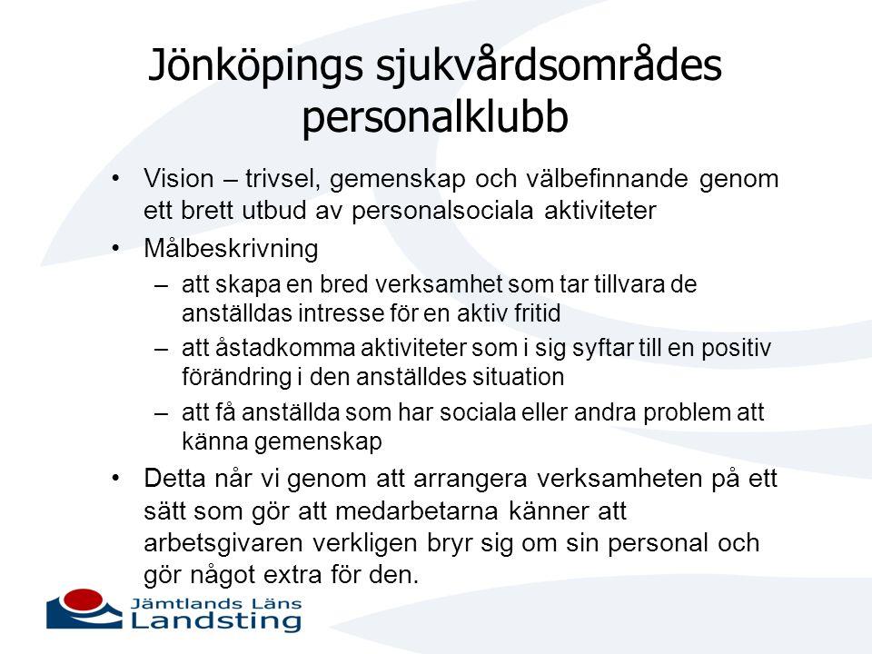Jönköpings sjukvårdsområdes personalklubb •Vision – trivsel, gemenskap och välbefinnande genom ett brett utbud av personalsociala aktiviteter •Målbesk