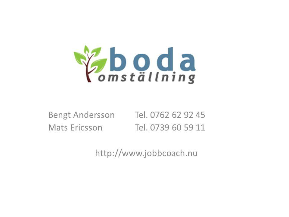 Bengt AnderssonTel. 0762 62 92 45 Mats EricssonTel. 0739 60 59 11 http://www.jobbcoach.nu
