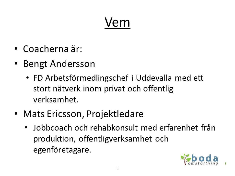 Vem • Coacherna är: • Bengt Andersson • FD Arbetsförmedlingschef i Uddevalla med ett stort nätverk inom privat och offentlig verksamhet. • Mats Ericss