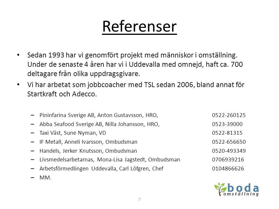 Referenser • Sedan 1993 har vi genomfört projekt med människor i omställning. Under de senaste 4 åren har vi i Uddevalla med omnejd, haft ca. 700 delt