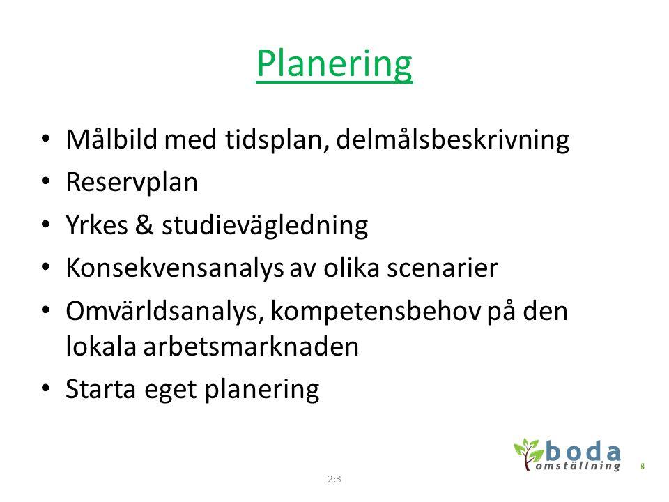 Planering • Målbild med tidsplan, delmålsbeskrivning • Reservplan • Yrkes & studievägledning • Konsekvensanalys av olika scenarier • Omvärldsanalys, k