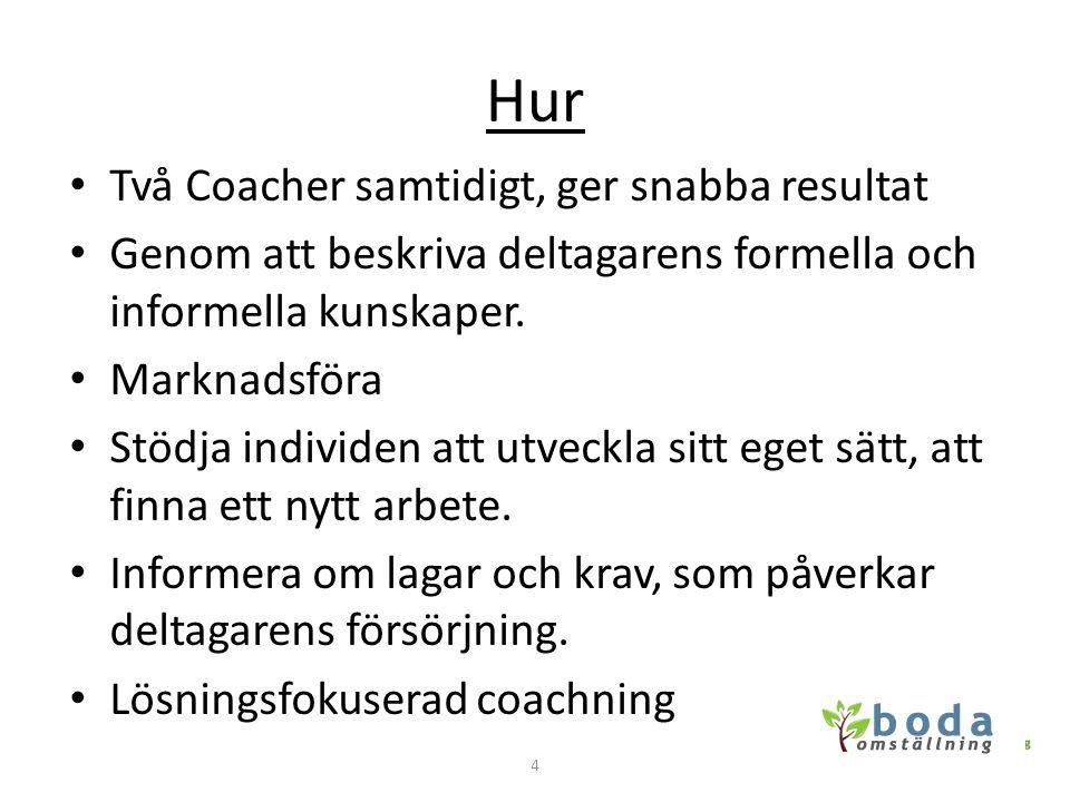 Hur • Två Coacher samtidigt, ger snabba resultat • Genom att beskriva deltagarens formella och informella kunskaper. • Marknadsföra • Stödja individen