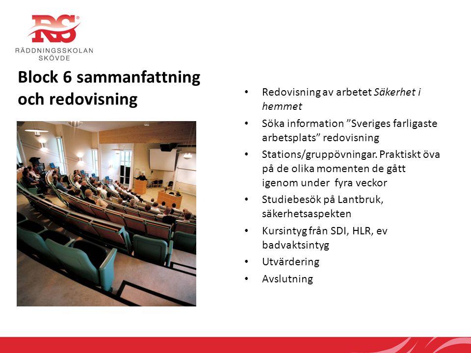 """Block 6 sammanfattning och redovisning • Redovisning av arbetet Säkerhet i hemmet • Söka information """"Sveriges farligaste arbetsplats"""" redovisning • S"""