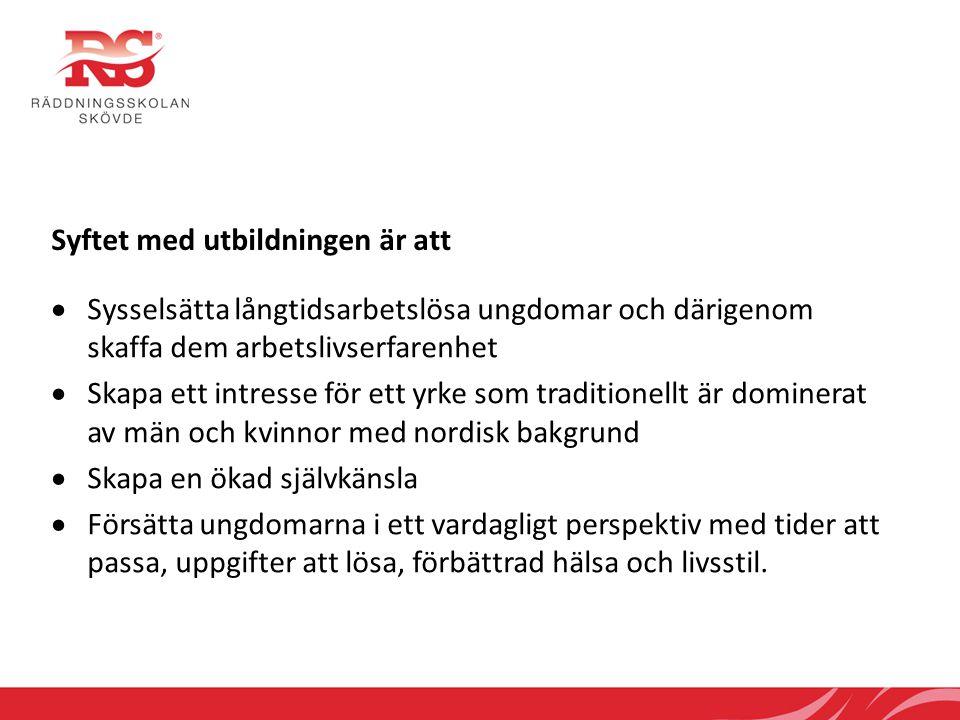 Räddningsskolan har som mål har att eleven i framtiden kommer  Förstärka sitt självförtroende och känna att han/hon har åstadkommit något betydelsefullt för sig själv och för sina medmänniskor  Skapa en större representation av brandmän med utomnordisk bakgrund bland de svenska räddningstjänsterna  Söka sig vidare på den svenska eller internationella arbetsmarknaden och därigenom öka chanserna att finna ett arbete  Se komplexa sammanhang i ett globalt perspektiv genom att arbeta med internationella räddningsinsatser