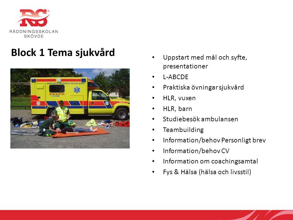 Block 1 Tema sjukvård • Uppstart med mål och syfte, presentationer • L-ABCDE • Praktiska övningar sjukvård • HLR, vuxen • HLR, barn • Studiebesök ambu