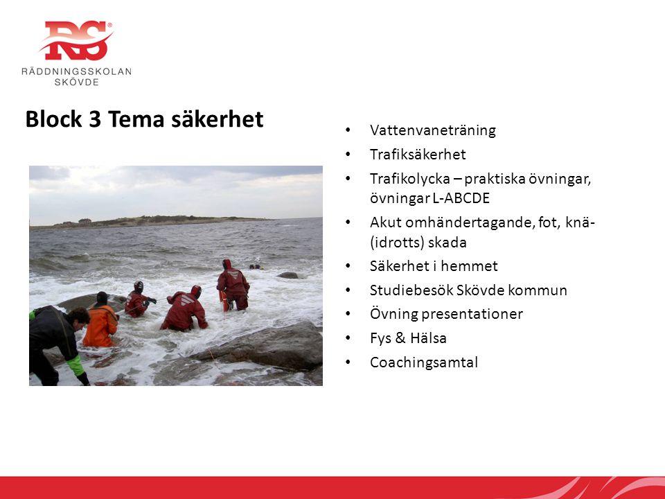 Block 3 Tema säkerhet • Vattenvaneträning • Trafiksäkerhet • Trafikolycka – praktiska övningar, övningar L-ABCDE • Akut omhändertagande, fot, knä- (id