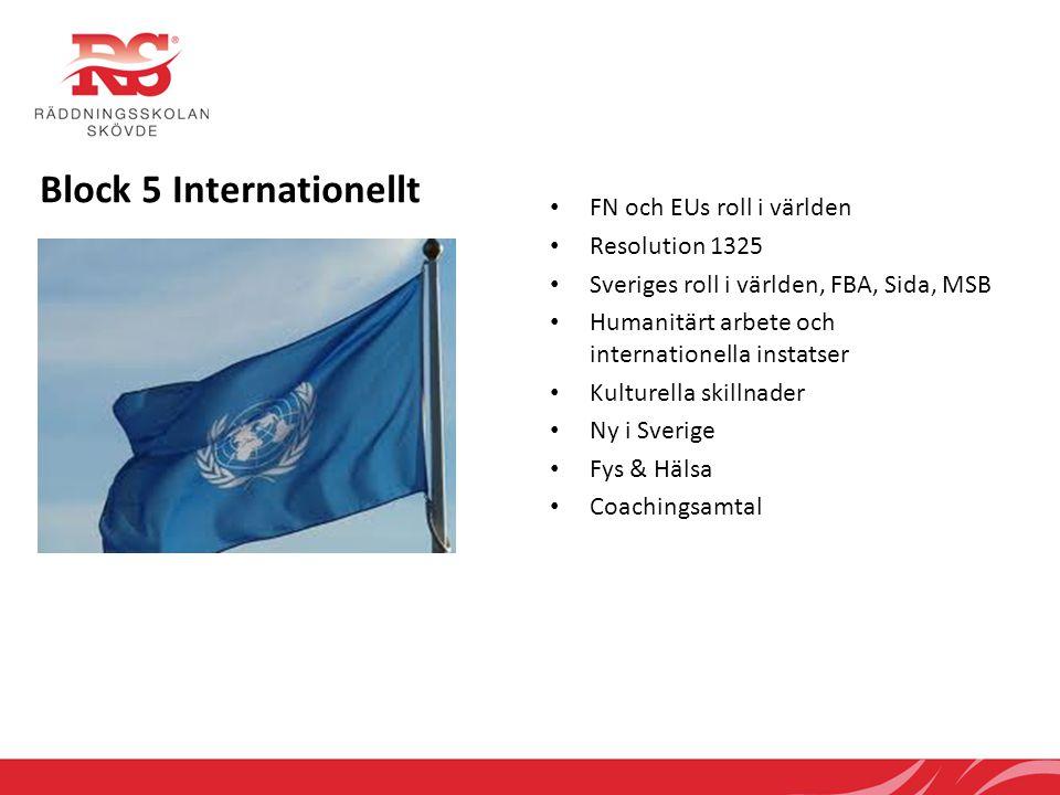 Block 5 Internationellt • FN och EUs roll i världen • Resolution 1325 • Sveriges roll i världen, FBA, Sida, MSB • Humanitärt arbete och internationell