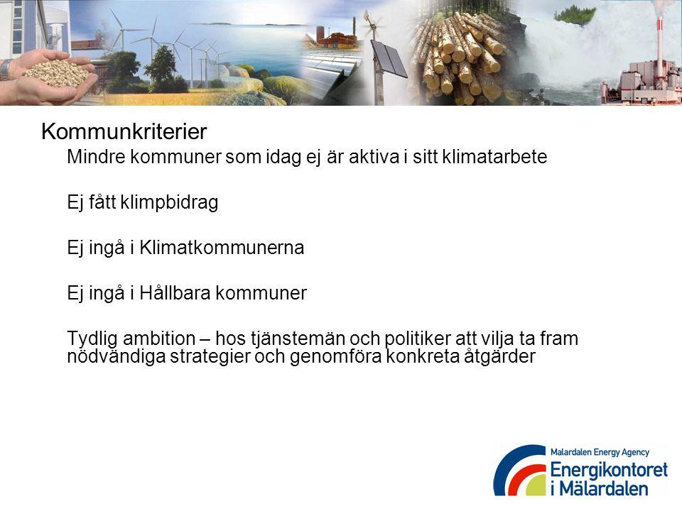 Kommunkriterier Mindre kommuner som idag ej är aktiva i sitt klimatarbete Ej fått klimpbidrag Ej ingå i Klimatkommunerna Ej ingå i Hållbara kommuner T