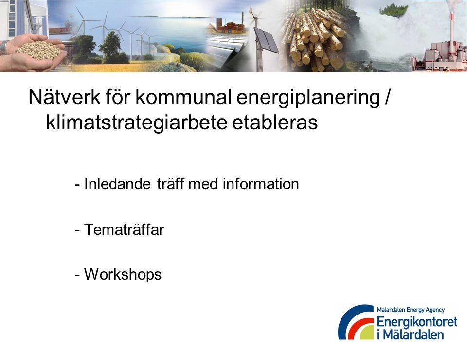 Nätverk för kommunal energiplanering / klimatstrategiarbete etableras - Inledande träff med information - Tematräffar - Workshops