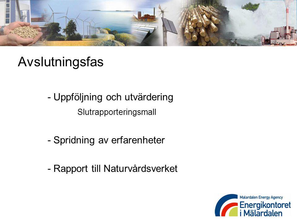 Avslutningsfas - Uppföljning och utvärdering Slutrapporteringsmall - Spridning av erfarenheter - Rapport till Naturvårdsverket