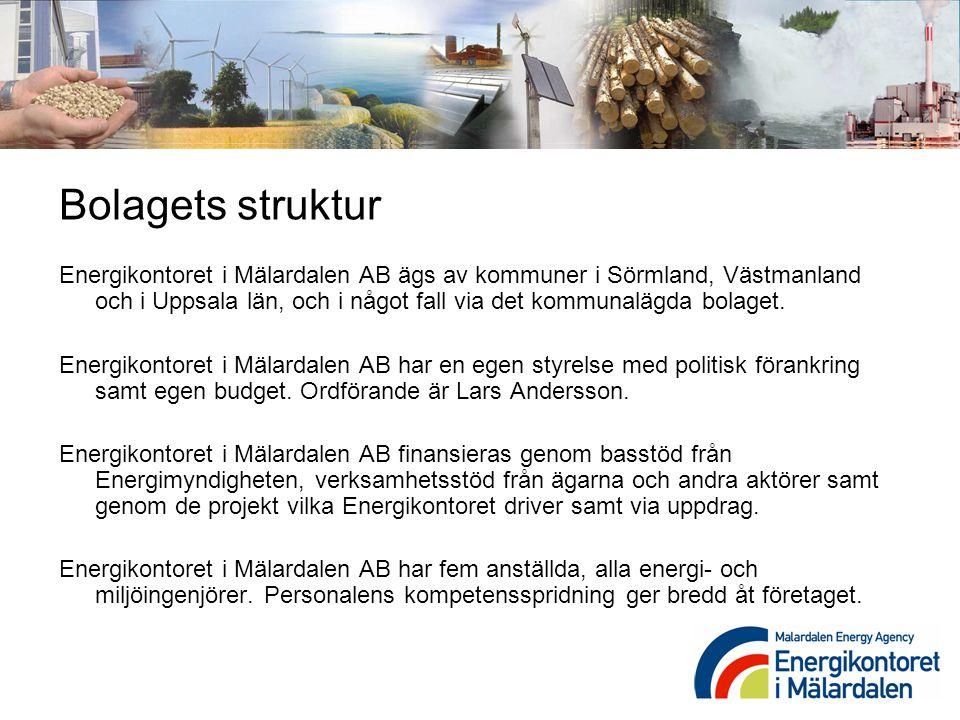 Bolagets struktur Energikontoret i Mälardalen AB ägs av kommuner i Sörmland, Västmanland och i Uppsala län, och i något fall via det kommunalägda bola