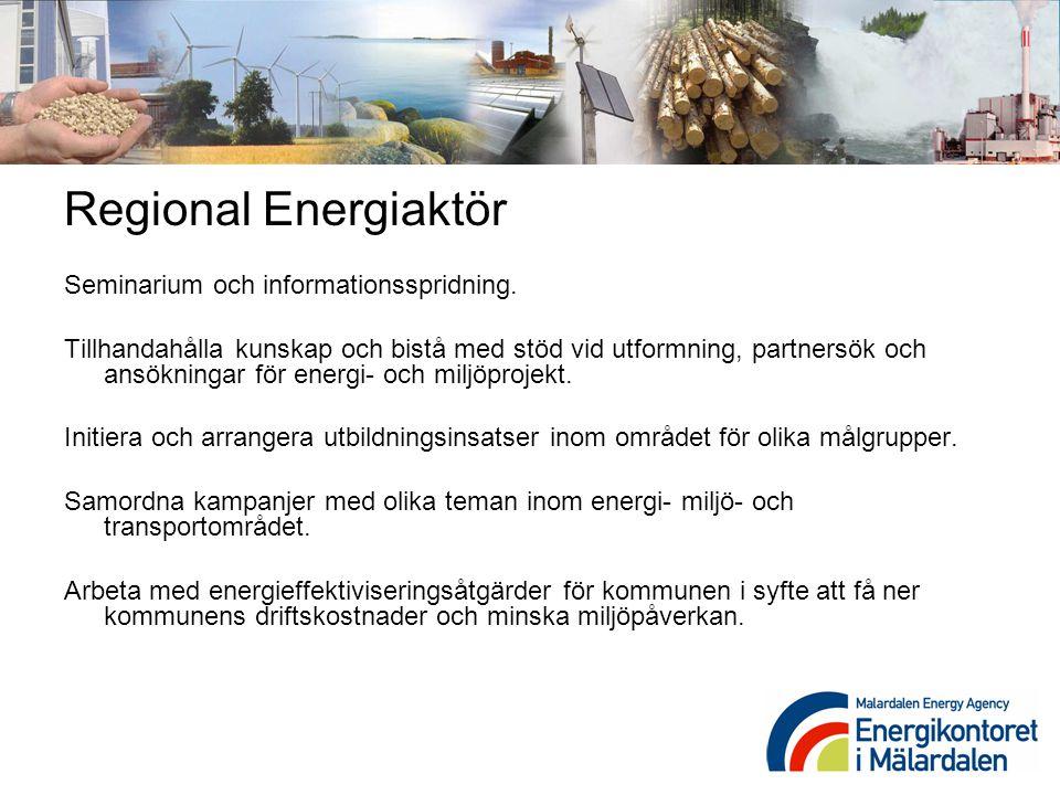 Regional Energiaktör Seminarium och informationsspridning. Tillhandahålla kunskap och bistå med stöd vid utformning, partnersök och ansökningar för en