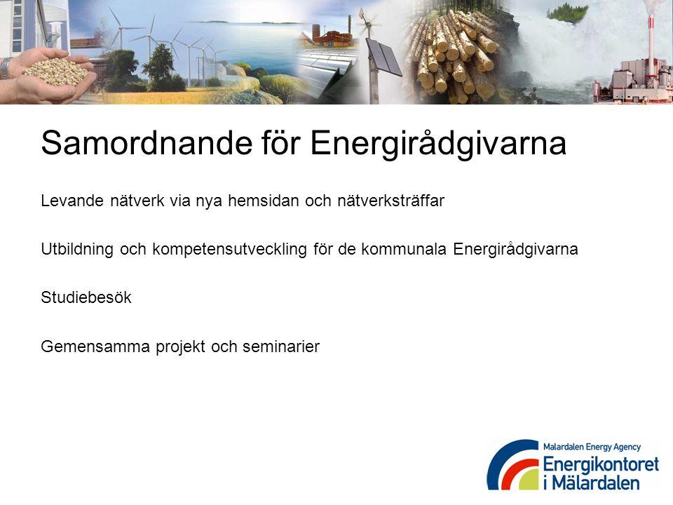 Samordnande för Energirådgivarna Levande nätverk via nya hemsidan och nätverksträffar Utbildning och kompetensutveckling för de kommunala Energirådgiv