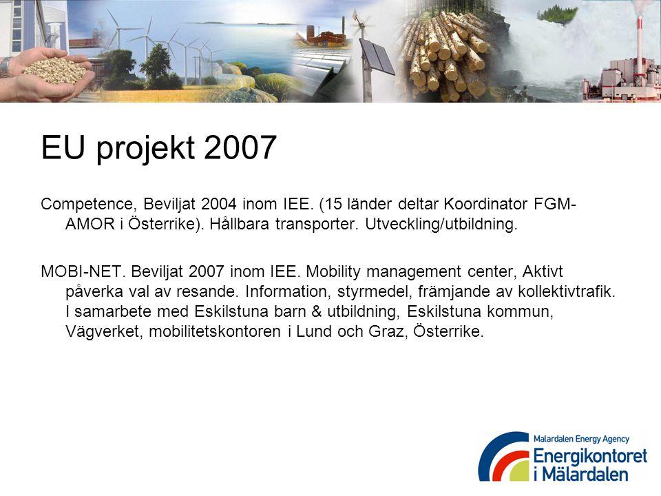 EU projekt 2007 Competence, Beviljat 2004 inom IEE. (15 länder deltar Koordinator FGM- AMOR i Österrike). Hållbara transporter. Utveckling/utbildning.
