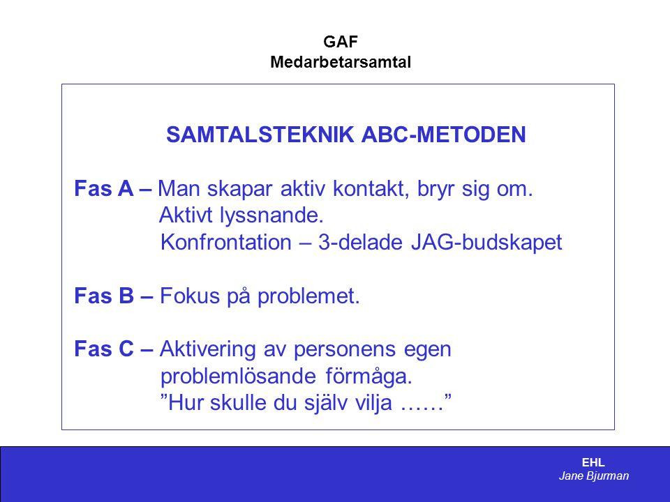 EHL Jane Bjurman GAF Medarbetarsamtal SAMTALSTEKNIK ABC-METODEN Fas A – Man skapar aktiv kontakt, bryr sig om.