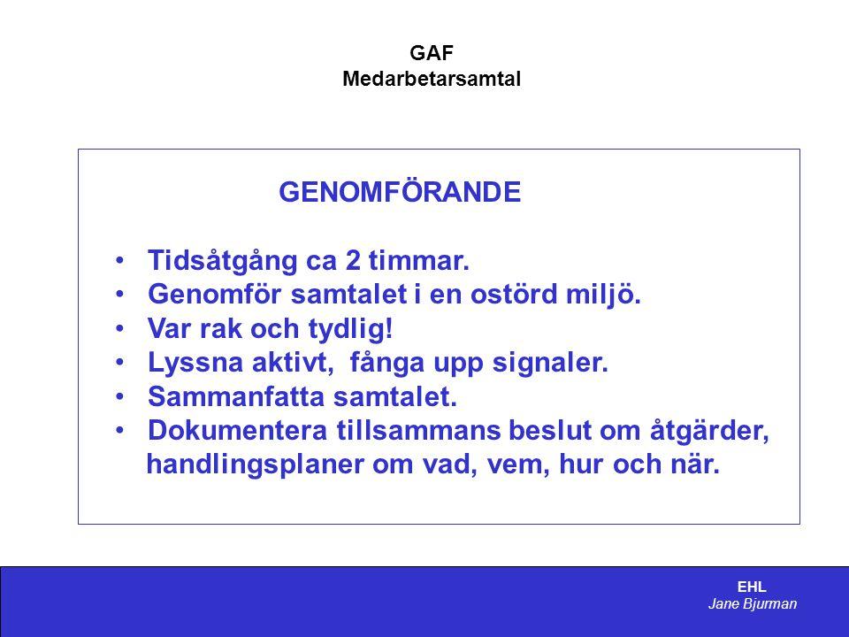 EHL Jane Bjurman GAF Medarbetarsamtal GENOMFÖRANDE • Tidsåtgång ca 2 timmar.