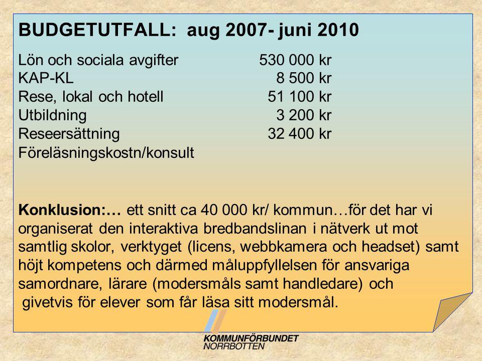BUDGETUTFALL: aug 2007- juni 2010 Lön och sociala avgifter 530 000 kr KAP-KL 8 500 kr Rese, lokal och hotell 51 100 kr Utbildning 3 200 kr Reseersättn