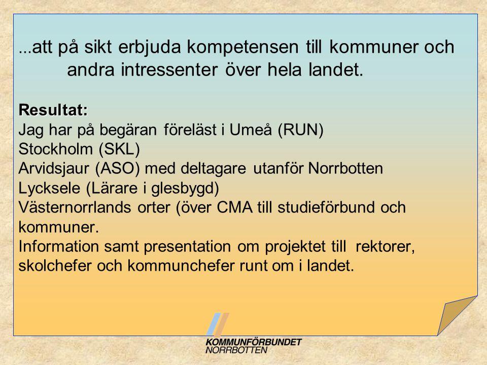 Resultat:... att på sikt erbjuda kompetensen till kommuner och andra intressenter över hela landet. Resultat: Jag har på begäran föreläst i Umeå (RUN)