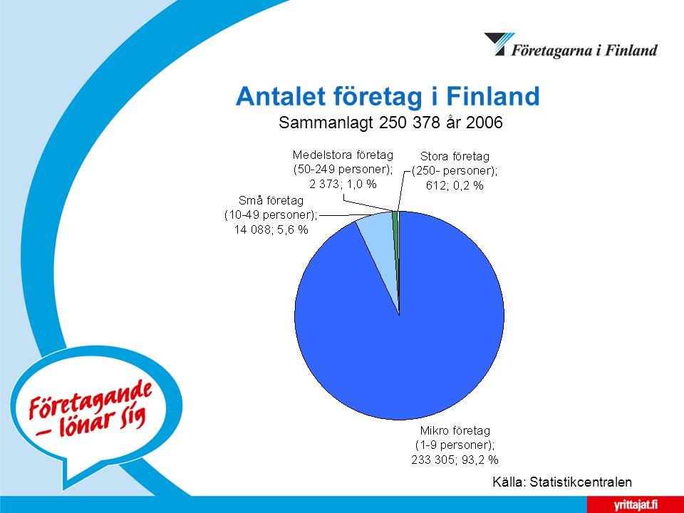 Antalet företag i Finland Sammanlagt 250 378 år 2006 Källa: Statistikcentralen