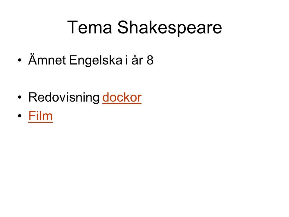 Tema Shakespeare •Ämnet Engelska i år 8 •Redovisning dockordockor •FilmFilm