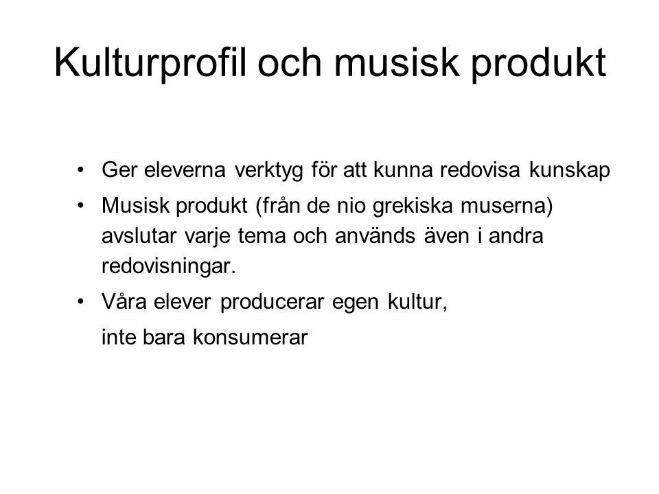 Kulturprofil och musisk produkt •Ger eleverna verktyg för att kunna redovisa kunskap •Musisk produkt (från de nio grekiska muserna) avslutar varje tem